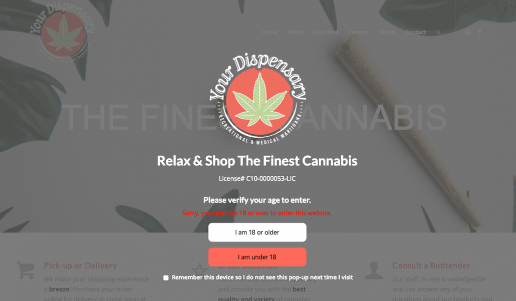 Easy Marijuana Age Verify 18+ Recreational WordPress plugin screenshot.
