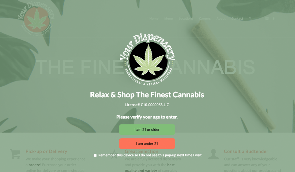 Easy Marijuana Age Verify 21+ Recreational WordPress plugin screenshot.