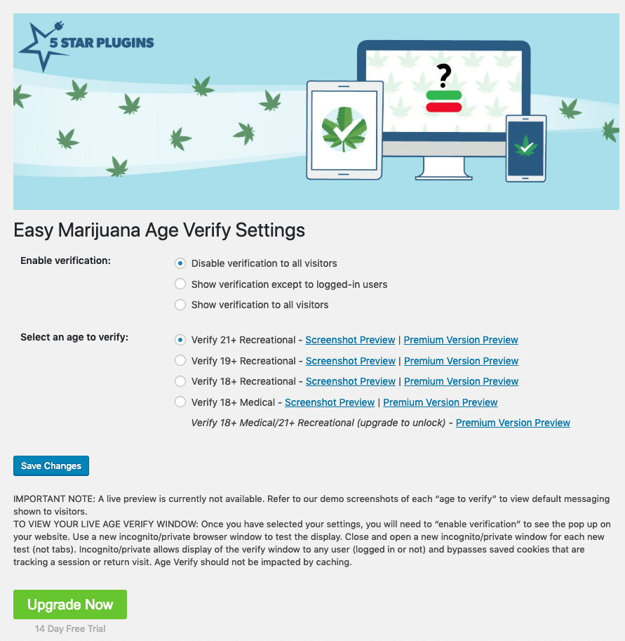 Easy Marijuana Age Verify WordPress Dashboard plugin screenshot.