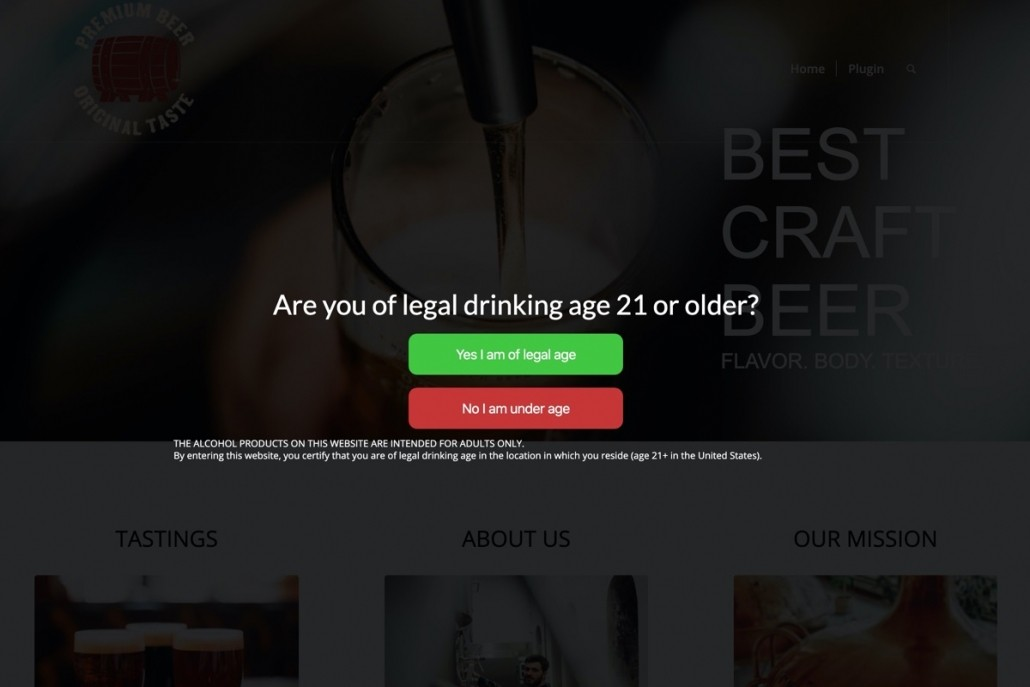 Alcohol website age verification free plugin