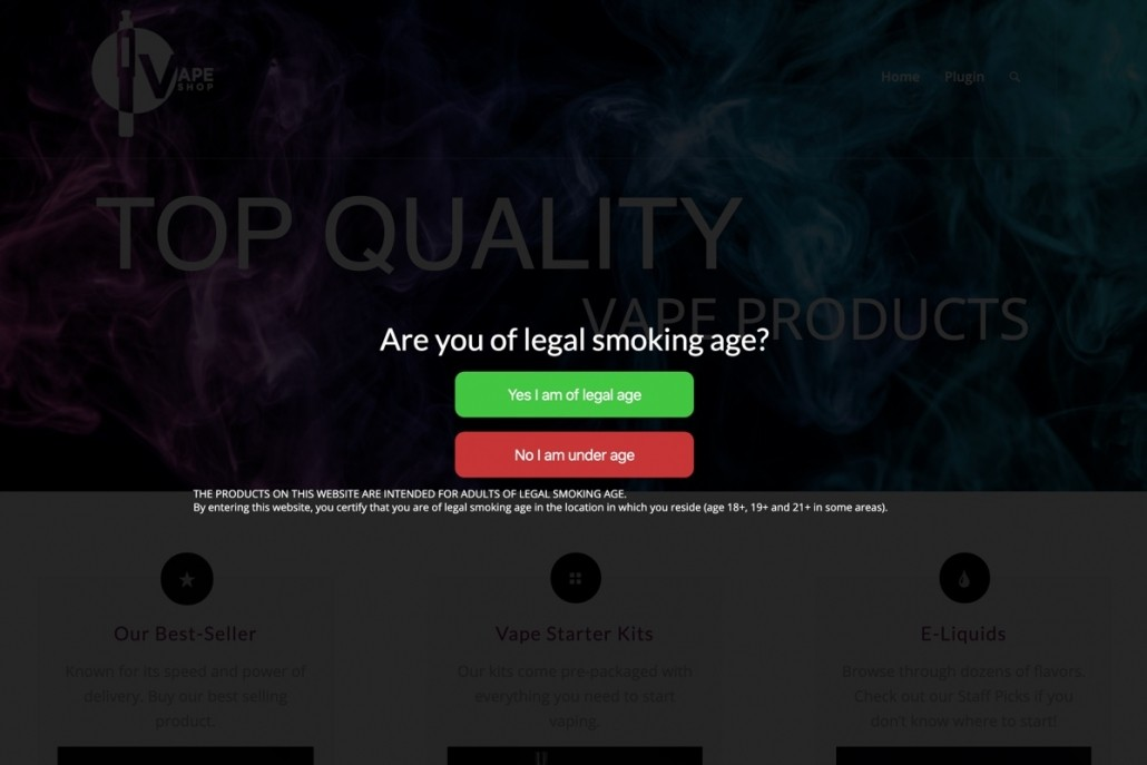 Vape smoking age verification free plugin