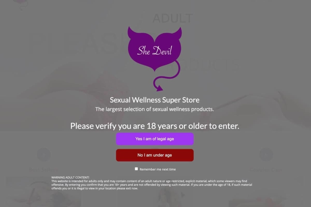 Adult 18+ age verification for WordPress