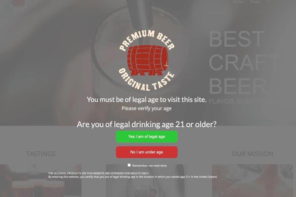 Premium Alcohol Age Verify WordPress plugin screenshot.