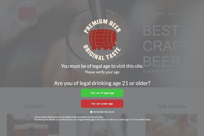 Easy Age Verify beer website