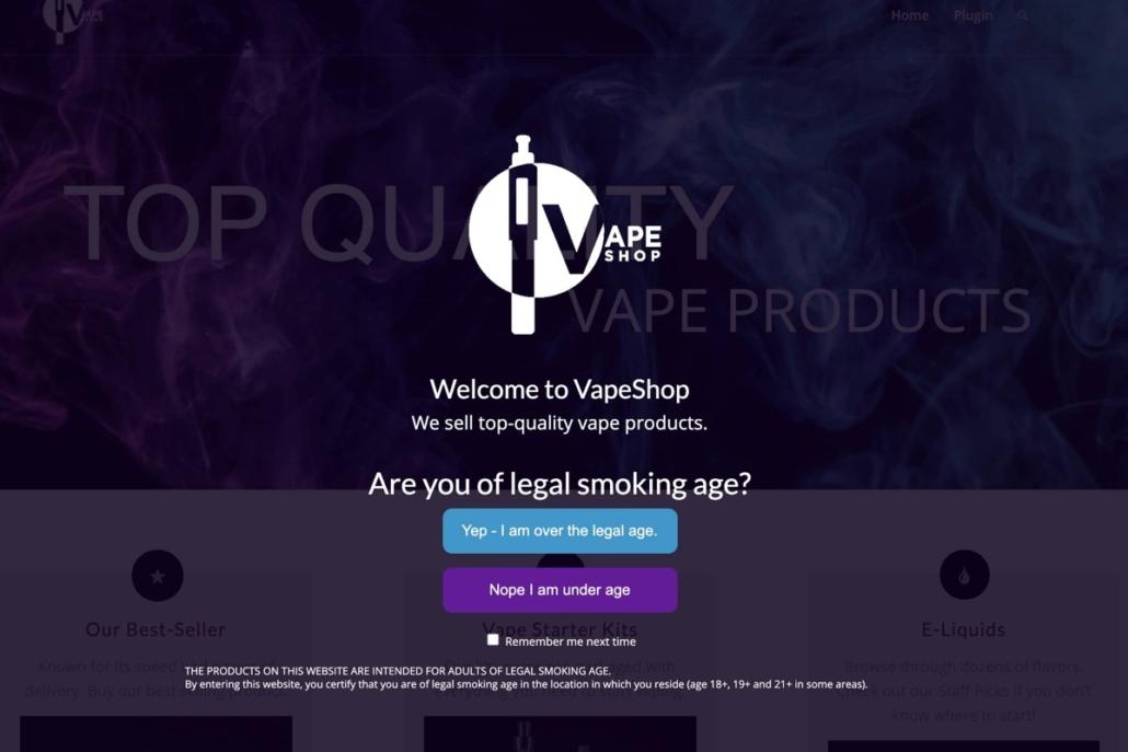 Premium Vape Age Verify WordPress plugin screenshot.