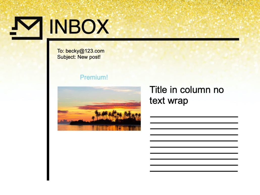 RSS email using media tags or enclosure tag 2 column image left example.
