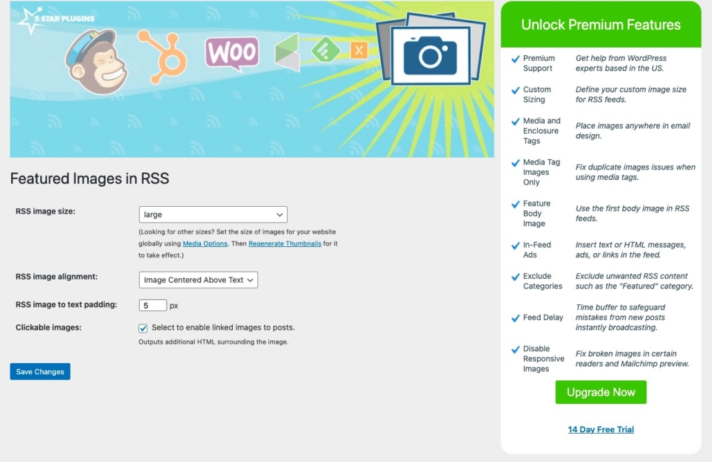 Featured Images in RSS for Mailchimp WordPress plugin standard settings page with options screenshot.