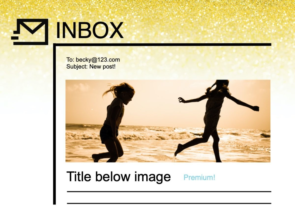 RSS email using media tag or enclosure tag 1 column image full width above title example.