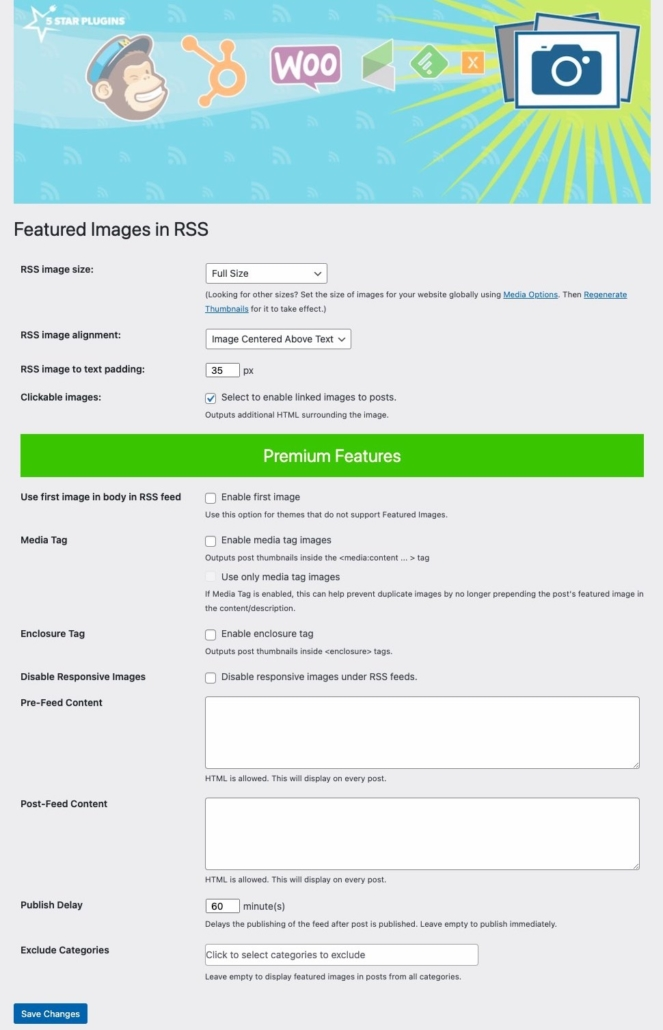 Featured Images In RSS for Mailchimp plugin settings page