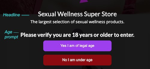 Screenshot showing age prompt and headline text on age popup