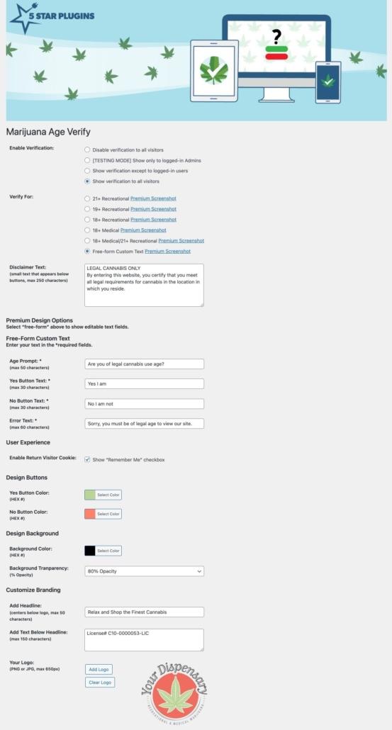 Screenshot Dashboard Marijuana Age Verify Premium